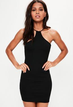Black Racer Neck Bodycon Dress