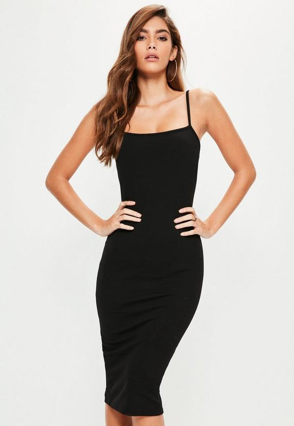 Black Square Neck Midi Dress Missguided