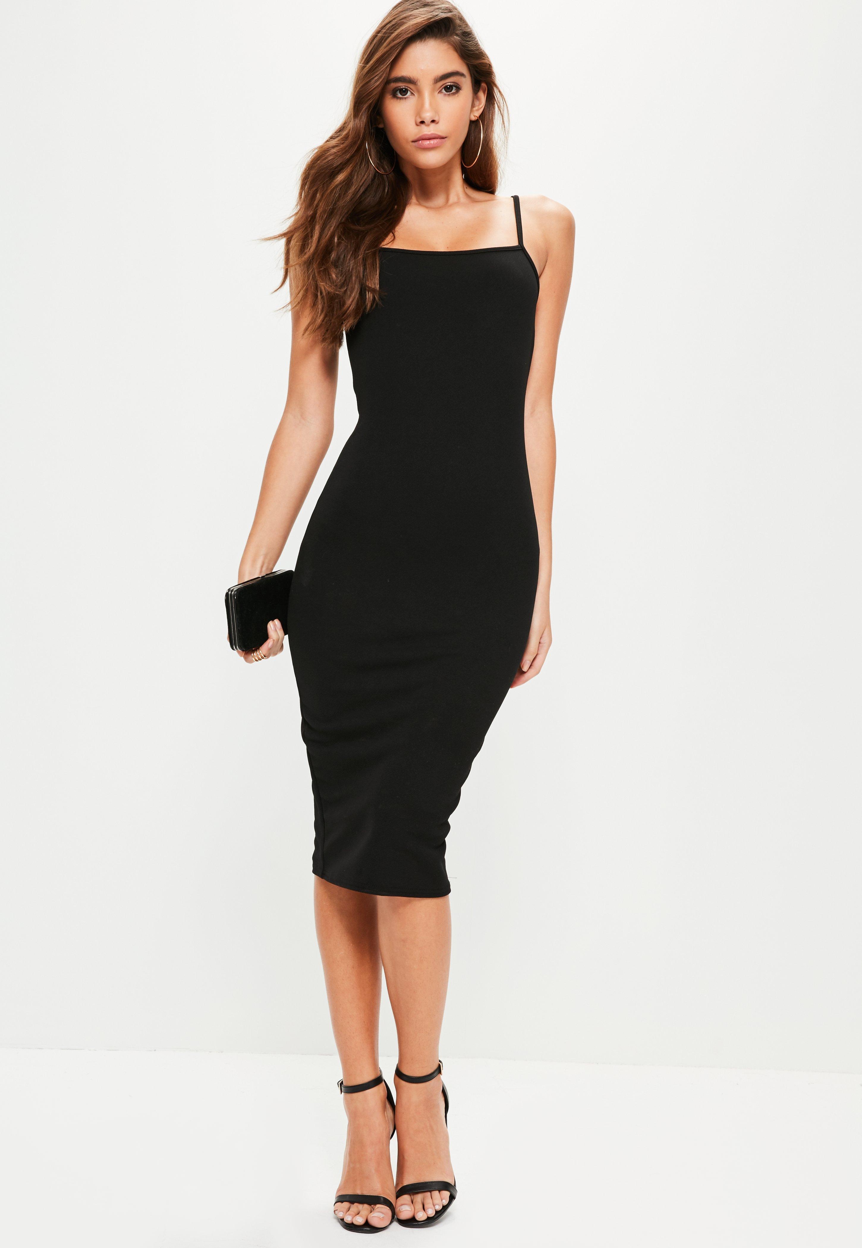 Black Square Neck Midi Dress