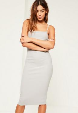 Grey Square Neck Midi Dress