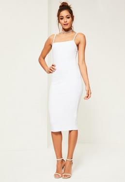 White Square Neck Midi Dress