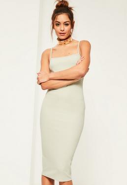Green Square Neck Midi Dress