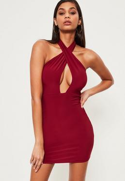 Burgundy Slinky Cross Neck Bodycon Dress