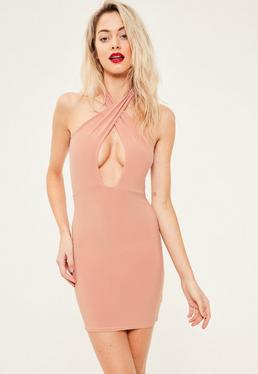 Pink Slinky Cross Neck Bodycon Dress