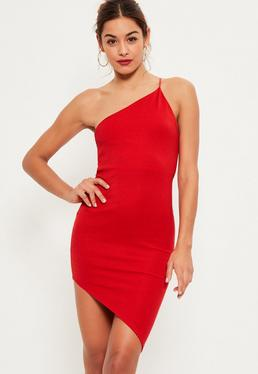 Asymmetrisches Figurbetontes Bodycon Kleid in Rot