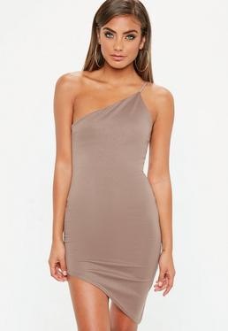 Nude One Shoulder Bodycon Asymmetric Dress