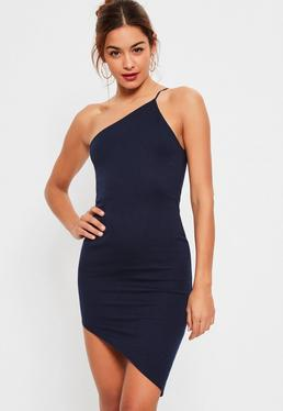 Navy One Shoulder Bodycon Asymmetric Dress