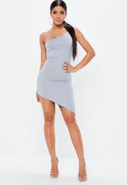 Szara dopasowana asymetryczna sukienka na jedno ramię