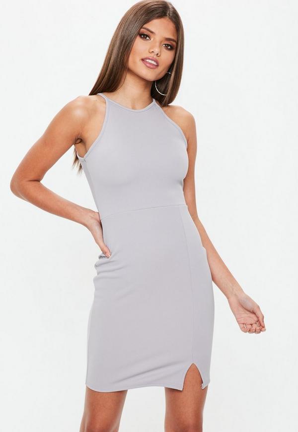 Grey 90s Neck Side Split Bodycon Dress