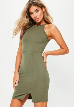 Khaki 90s Neck Side Split Bodycon Dress