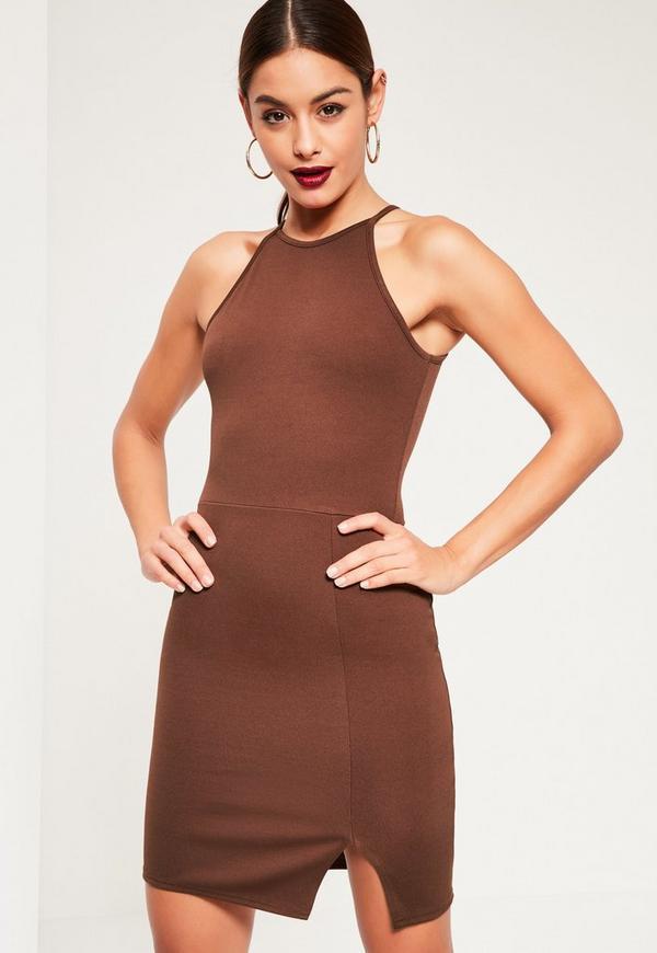 Brown 90s Neck Side Split Bodycon Dress