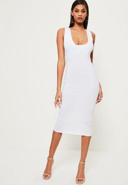 White Jersey Square Neck Midi Dress