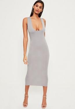 Grey Jersey Square Bust Midi Dress