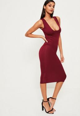 Burgundy Jersey Square Bust Midi Dress