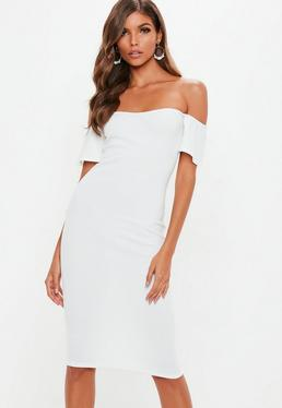 White Bardot Bodycon Midi Dress