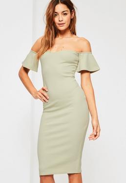 Green Bardot Bodycon Midi Dress