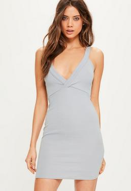 Grey Plunge Bodycon Dress