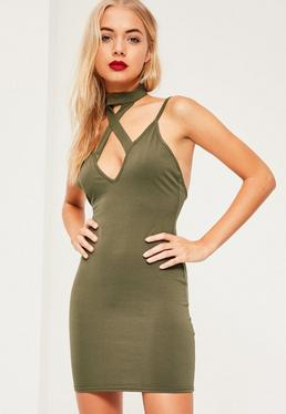 Khaki Cross Front Choker Strappy Bodycon Dress