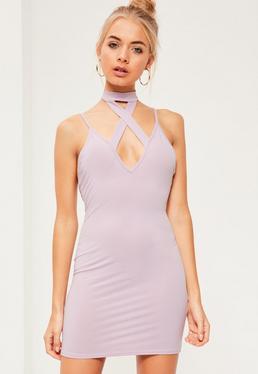 Purple Cross Front Choker Strappy Bodycon Dress