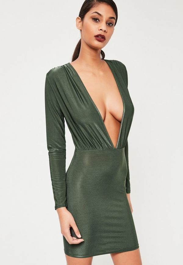 Khaki Slinky Long Sleeve Bodycon Dress