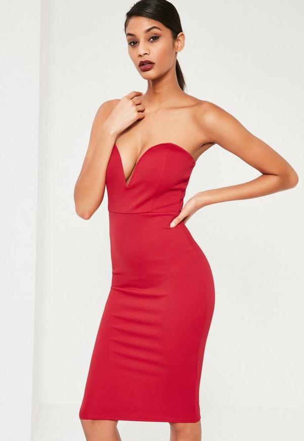 Red Scuba Plunge Bandeau Midi Dress