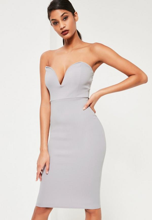 Grey Scuba Plunge Bandeau Midi Dress