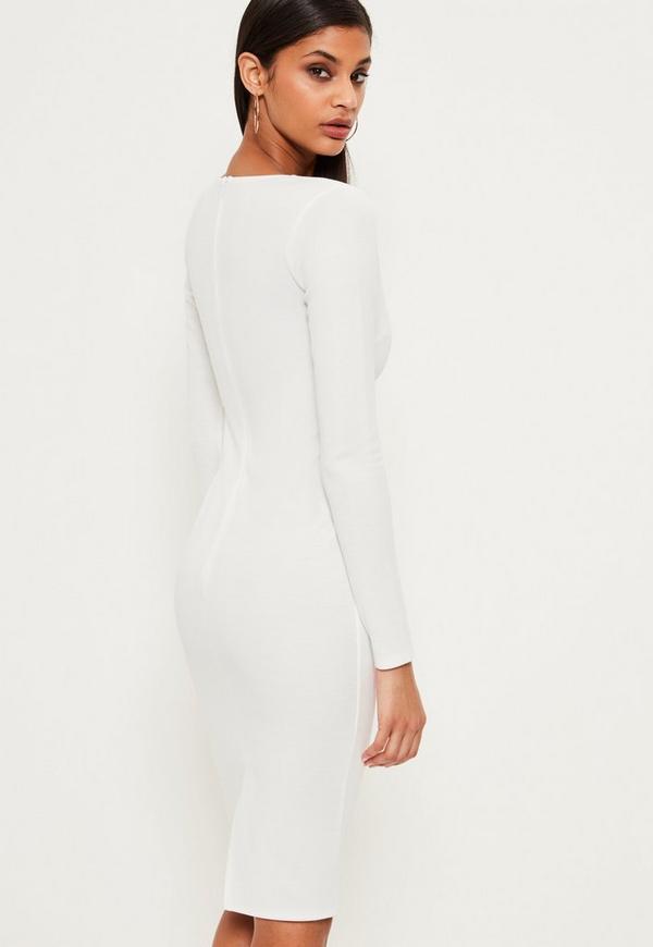 White Ponte Long Sleeve Midi Dress Missguided