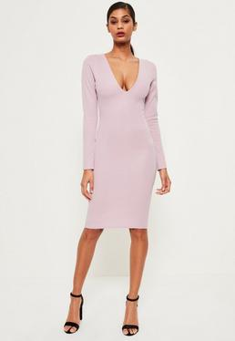 Pink Ponte Long Sleeve Midi Dress