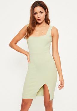 Green Square Neck Side Split Midi Dress