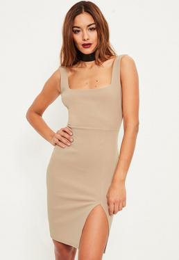 Nude Square Neck Side Split Mini Dress