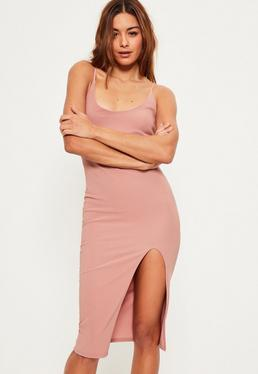Pink Strappy Scoop Neck Midi Dress