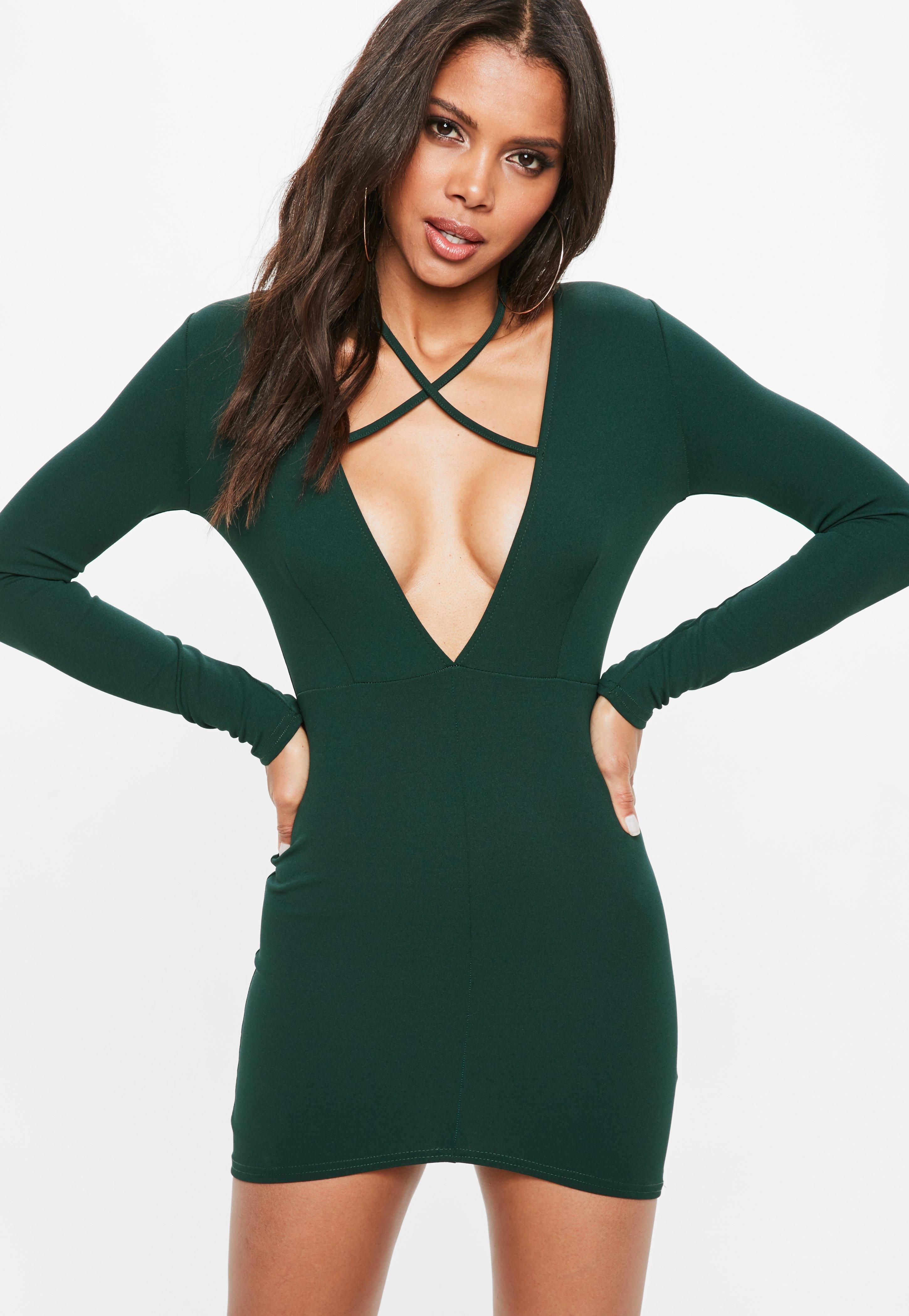 Green Tie Neck Plunge Long Sleeve Bodycon Dress