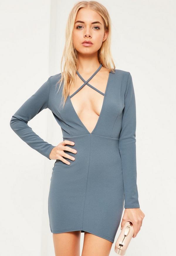 Blue Tie Neck Plunge Long Sleeve Bodycon Dress