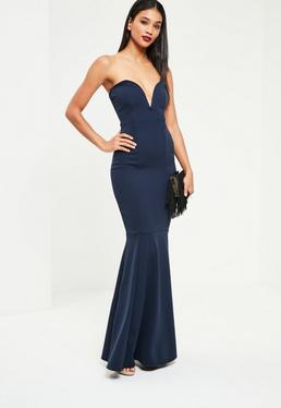 Navy Sweetheart Neck Maxi Dress