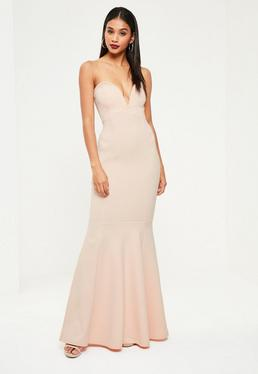 Nude Sweetheart Neck Maxi Dress