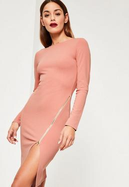 Pink Long Sleeve Zip Detail Midi Dress