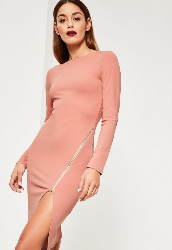 Pink Long Sleeve Zip Detail Midi Dress