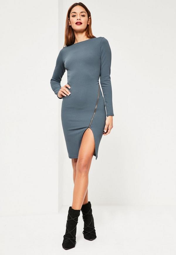 Blue Long Sleeve Zip Detail Midi Dress