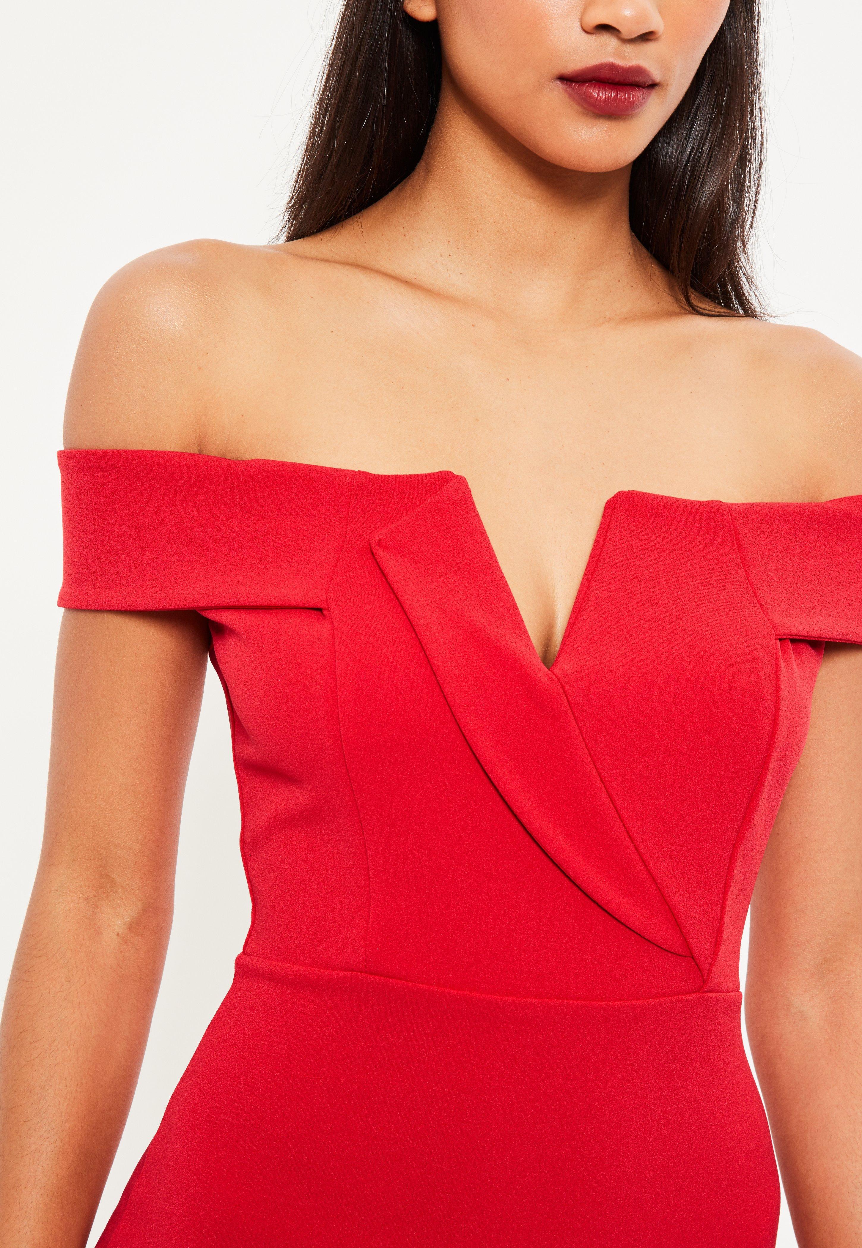 Red Bardot Plunge Midi Dress