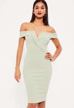 Green Bardot Plunge Midi Dress