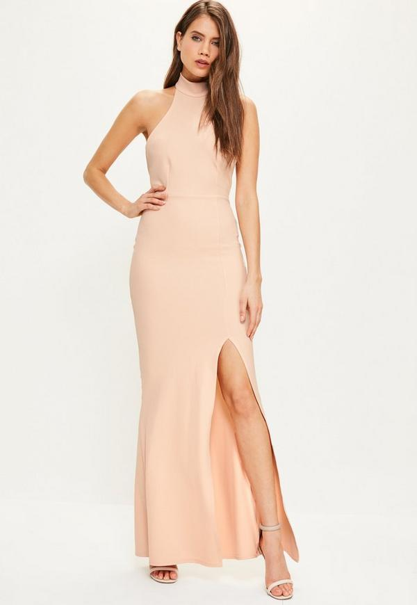 Nude Choker Maxi Dress