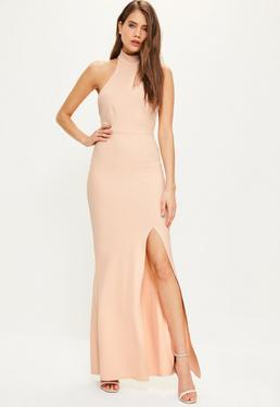 Robe longue nude col montant