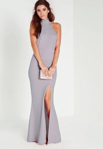Grey Choker Maxi Dress - Missguided