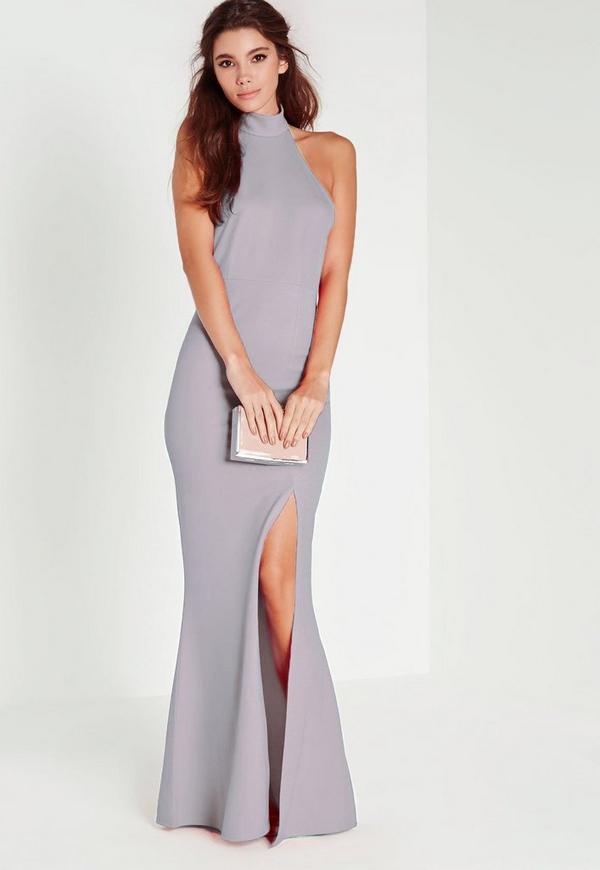 Grey Choker Maxi Dress Missguided