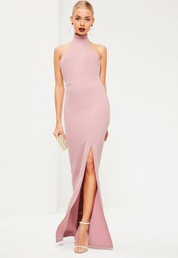 Różowa sukienka maxi z rozporkiem