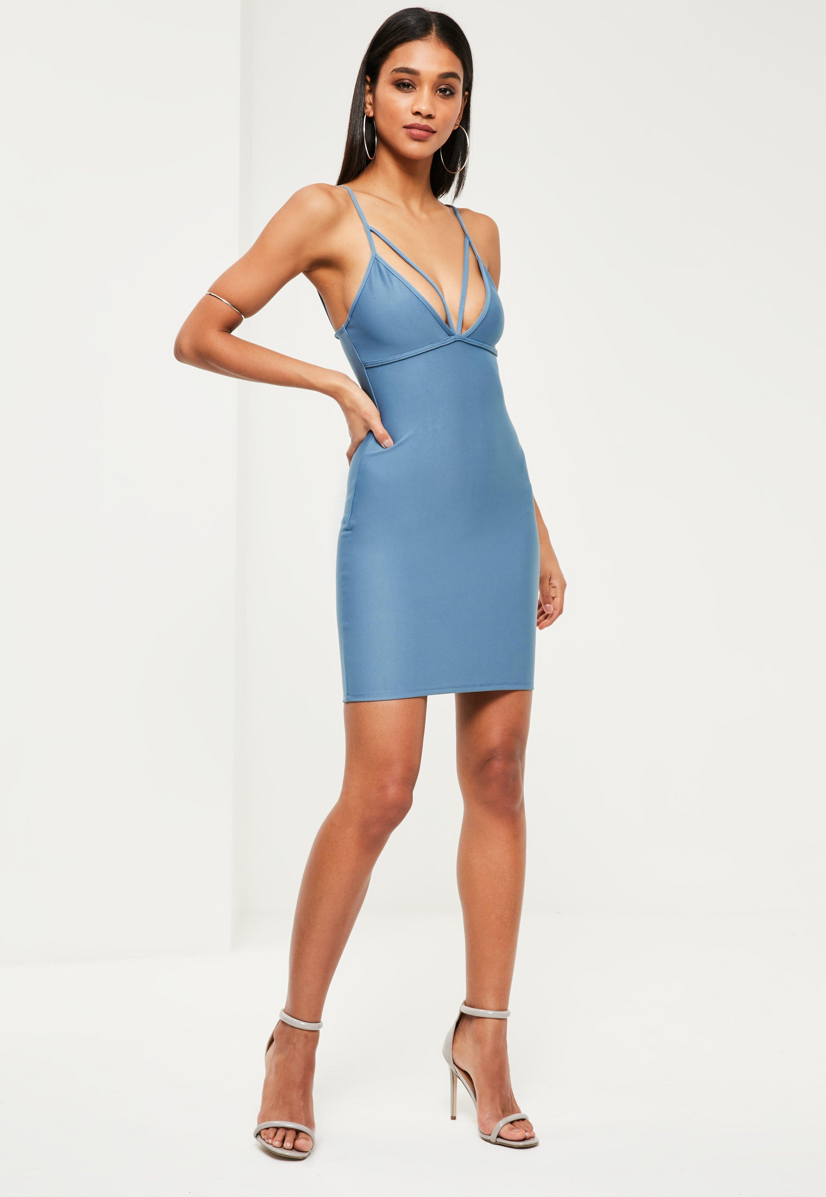 Blue Strappy Scuba Bust Cup Bodycon Dress