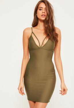 Khaki Strappy Scuba Bust Bodycon Dress