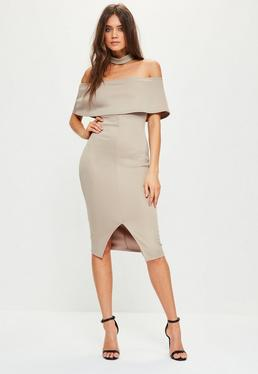 Nude Choker Neck Zip Back Bardot Midi Dress