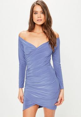 Fioletowa dopasowana pomarszczona sukienka bardot