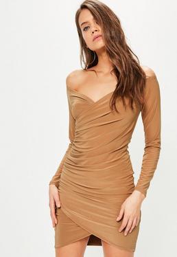 Camel Slinky Bardot Bodycon Dress
